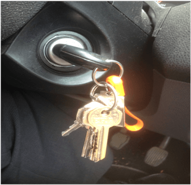 Car ignition switch with hanging keys